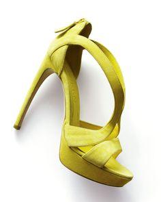 Alexander McQueen Suede Cutout Platform Sandal.