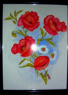 Red Poppies 11 x 12 Water color includes glass frame