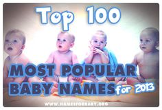 Top 100 baby names for 2013 Is your #name on this list? See the #most #popular #names of #2013! Official #Top #baby #names in the US. #Top #boy names and Top #girl names and #meanings. #babynames   #babynamesandmeanings   #babynames2014   #babynaming  #celebrities #topnames