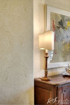 Segreto Finishes does absolutely stunning work-as evidenced by this soft Fortuny Damask stenciled wall treatment.