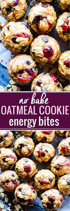 Gluten free No Bake Oatmeal Cookie Energy Bites for a healthy lunchbox treat!,Healthy, Many of these healthy H E A L T H Y . Gluten free No Bake Oatmeal Cookie Energy Bites for a healthy lunchbox treat! These no bake oatmeal cookie bites. Energy Snacks, Protein Snacks, Protein Bars, Protein Energy, Healthy Protein, Protein Smoothies, Fruit Smoothies, High Protein, Healthy Sweets