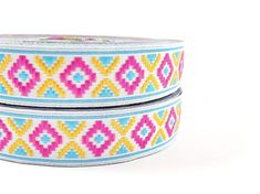 Pink Blue & Yellow Geometric Woven Embroidered by LylaSupplies, $3.50