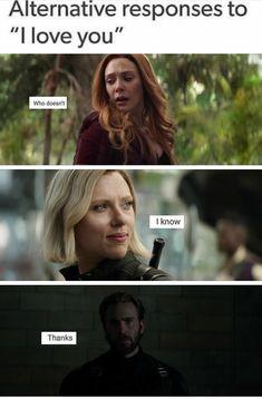 Avengers Memes, Marvel Memes, Marvel Dc Comics, Marvel Avengers, Romanogers, Spiderman, Fandoms, Scarlet Witch, Bucky Barnes