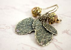 Leaf Charm Earrings with Bronze Facetted Flower Bud £10.00