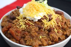 If there is snow on the ground it's time for chili! Even if there isn't it's always time for chili! Here's a great chili recipe for you... give it a try!  Ingredients: 4 Pieces of Bacon Small Dice 1 Cup Sweet Onion Small Dice  Cup Green Pepper Minced 1 Tbsp. Garlic Minced   Cup Red Wine 2 Lbs Ground Sirloin (LEAN) 1 lb. Ground Pork  2 (14.5 oz.) cans Dei Fratelli Diced Tomatoes (entire can) 1 (14.5 oz.) can Dei Fratelli Tomato Sauce  4 Cups Kidney Beans (rinse and drain) 1 tsp. Sea Salt  1…