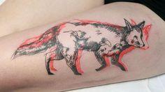 fox, 3d, sketch work, leg tattoo, tattoo for woman