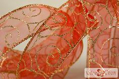 Karácsonyi organza szalag - piros, arany indás - 38mm x 9,1m - Valex Decor Kft.   Virágkötészeti kellékek és dekorációk webáruháza