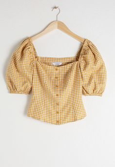 Linen Puff Sleeve Gingham Top - Yellow Gingham - Tops - & Other Stories Crop Top Outfits, Summer Outfits, Casual Outfits, Cute Outfits, Fashion Outfits, Midi Wrap Skirt, Wrap Skirts, Wrap Dress, Moda Vintage