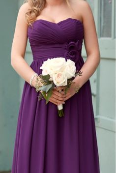 purple bridesmaids dress- looks great long and would also look great short! Gorgeous!!  Purple Dress