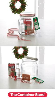 DIY Homemade Gift Idea: Bar In A Jar This is such a fun gift to make and receive. Fill one of our Glass Gracker Jars with ingredients for a Bloody Mary or other favorite drink. Decorate the lid with a ribbon and add a fun gift tag. Our Bar In A Jar includes: V8 Juice cans. Mini Smirnoff vodka bottles, Mini Tabasco bottles and spice mix.