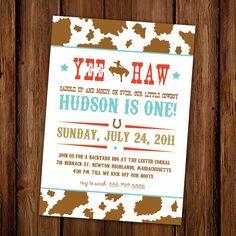 Yee Haw Rodeo Cowboy Birthday Invitation - Hoedown - Yee Haw - Bucking Bronco - Cow Print on Etsy, $15.00