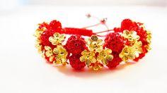 NEW Red & Gold Flower Shamballa