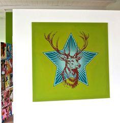 Aufwendige Hirsch Schablonierung in den Farben von Le Corbusier, Leinwand, 100 x 100 cm