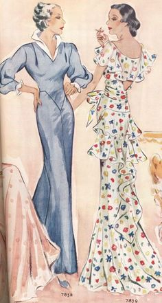 From a lovely spread in McCalls magazine in June of 1934. The gowns are amazing, as are the descriptions. Please note that the flowered prin...