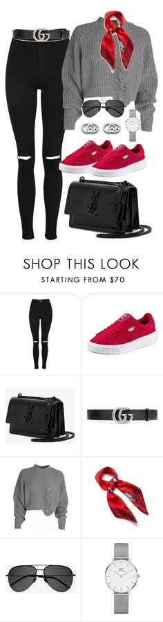 """Untitled #2398"" by thisishowwedress on Polyvore featuring Topshop, Yves Saint Laurent, Gucci, Mulberry and Daniel Wellington"