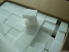 Magic Eraser is made of melamine foam. Cheaper to purchase foam and cut to size. Cleaning Recipes, Cleaning Hacks, Cleaning Supplies, Cleaning Solutions, Diy Cleaners, Cleaners Homemade, Household Cleaners, Household Tips, Magic Eraser Diy