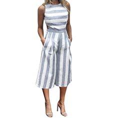 94d89d65548 TAORE Shirts Taore Women Sleeveless Elegant Striped Jumpsuit Romper Casual  Work Wide Leg Pants Backless Jumpsuit
