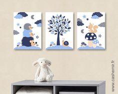 Affiche poster Lot de 3 illustrations pour chambre d'enfant garçon, décoration chambre bébé, réf.17 bleu : Chambre d'enfant, de bébé par cashemir
