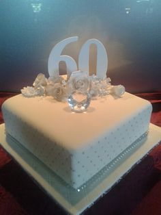Diamond anniversary More 60 Year Wedding Anniversary, Diamond Wedding Anniversary Cake, Diamond Wedding Cakes, Diamond Cake, Wedding Anniversary Celebration, Anniversary Decorations, Diamond Party, Anniversary Ideas, 60th Birthday Cakes