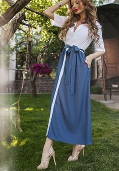 MalangFashion White Patchwork Belt Pockets Single Breasted Maxi Dress