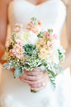 Peach + Pink + Succulent Bouquet | Apryl Ann Photography | On SMP: http://www.stylemepretty.com/2013/12/03/texas-hill-country-wedding-from-apryl-ann-photography