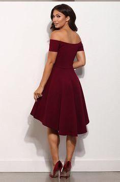 Off the shoulder Burgundy Prom Party Dresses,High low Semi Formal Evening Dress OK351