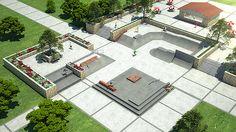Concrete skatepark design with street plaza | por Spohn Ranch Skateparks