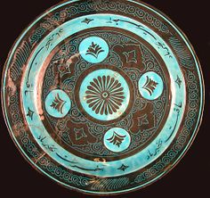 Second half 15th c. Kubachi ware bowl, stonepaste incised and painted in black under a turquoise glaze (14 1/2 in.) - Met Museum 17.120.72