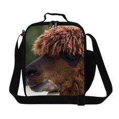 3D Animals Children Lunch Bag Thermal Bag Lunch Box Lancheira Termica Infantil Cute Alpaca Illustration Family Picnic Food Bag