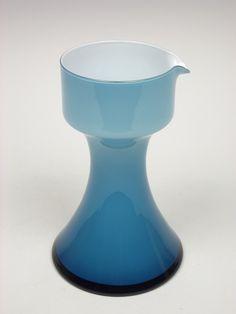 Holmegaard 'Carnaby' blue cased glass pitcher by Per Lutken