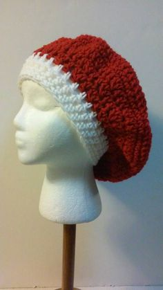 FREE SHIPPING, Red and White Crochet Beret, Crochet Beret, Valentine's Day, Christmas Beret, Red and White Hat, Ready to Ship, B49-16-531 by NoreensCrochetShop on Etsy