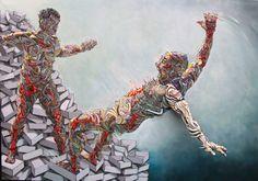 "redlipstickresurrected: "" Shaka aka Marchal Mithouard (French, b. 1975, Évry , France) - 1: David Boulanger, 2012 Acrylics on Canvas 2: Human Behavior, 2012 Oil, Acrylics, Mixed Media on Canvas """