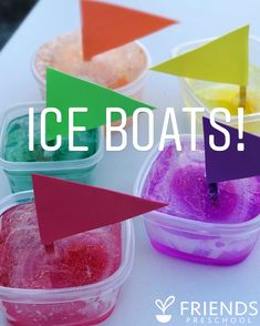 """241 Likes, 18 Comments - Friends Preschool (@friendsartlab) on Instagram: """"Ice, ice, baby! These ice boats were soooooo fun today! ♀️ I got this idea from @whatsupmoms and…"""""""
