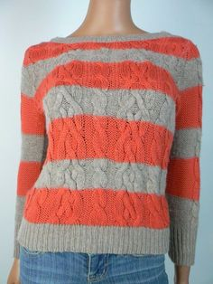 Ann Taylor Loft Brown Coral Striped Cable Knit Sweater