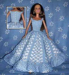 Crochet Barbie Patterns, Crochet Doll Dress, Barbie Clothes Patterns, Crochet Barbie Clothes, Doll Clothes Barbie, Crochet Doll Pattern, Dress Patterns, Barbie Doll, Barbie Wedding Dress