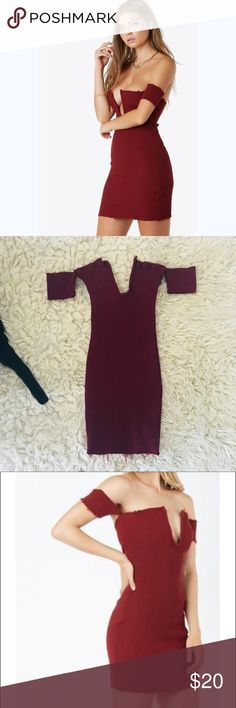 Deep v sweater dress frayed burgundy red strapless Brand new dress.  Came in packaging so no tags. Sabo Skirt Dresses Mini