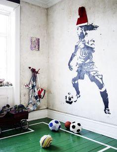Een mooie grote afbeelding op de muur zelf maken.