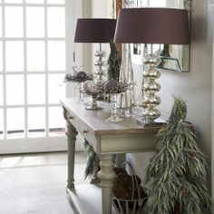 Modern Country Christmas Hallway Ideas over on Modern Country Style: Click through for details! Decor, Hallway Colours, Country Hallway, Hallway Decorating, Christmas Hallway, Interior, French Furniture, Home Decor, Hallway Colour Schemes