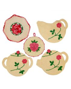 Tea time is a special time for sharing. These precious potholders are reminiscent of the days when we had the time to brew a perfect cup of our favorite tea and enjoy it, sitting outside under the trees near the rose garden.In the madness of current times, we are all so rushed that we are content