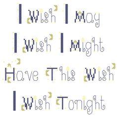 Cross Stitch Pattern I Wish I May I Wish I Might Have This Wish I WIsh Tonight Digital File Instant Download