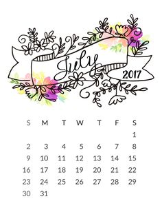 July 2017 Calendar Cute Printable Template with Holidays July 2017 cute Calendar pdf images pictures 2017 July Calendar Cute free July Calendar Cute 2017 Planner Bullet Journal, March Bullet Journal, Bullet Journal Inspiration, Journal Layout, My Journal, Journal Covers, Filofax, Diy Calendario, Art Journaling