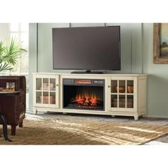 Home Decorators Collection Westcliff 66 in. Low Boy Media Console Electric Fireplace in Bleached Linen