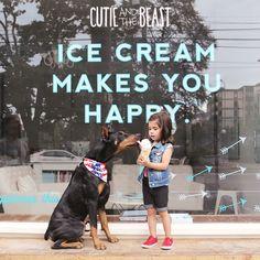 #Doberman and #girl sharing #icecream