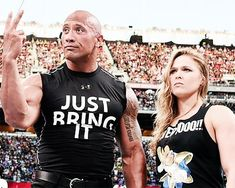 The Rock and Ronda Rousey at wrestlemania 2015 Ronda Rousey Wwe, Ronda Jean Rousey, The Rock Dwayne Johnson, Dwayne The Rock, Rock Johnson, Rounda Rousey, Brock Lesnar Wwe, Wwe The Rock, Rowdy Ronda