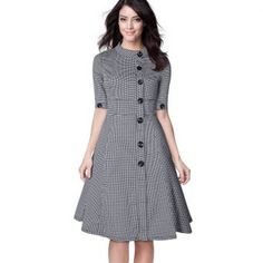 Miusol dresses are made with the customer\'s fit,satisfaction and comfort in mind.This dress is made from Cotton. Houndstooth, Skater Dress, Dresses For Work, Shirt Dress, My Style, Sleeves, Prints, Cotton, Vintage
