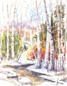 Trees in Forest: Watercolor by Ian Bird