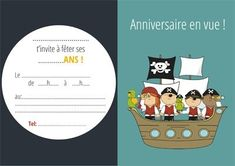 carton invitation bateau pirate-miniature Plus Invitation Fete, Pirate Invitations, Printable Invitations, Printables, Invites, Pirate Birthday, Pirate Party, Happy Birthday, Film D
