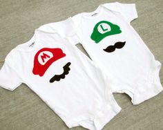 character girl baby shower | Super Mario Brothers Baby Boy Girl Onesies Mario or by BellaBlitz
