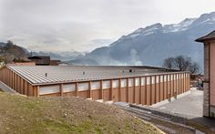 Finn Wilkie — Rolf Mühlethaler, Sportshall, Brienz, 2010 ... Garden Bridge, Facade, Pergola, Deck, Outdoor Structures, Wood, Places, Outdoor Decor, Home Decor