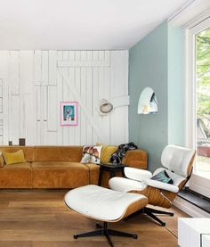 white leather mid-century modern lounge chair and ottoman / sfgirlbybay